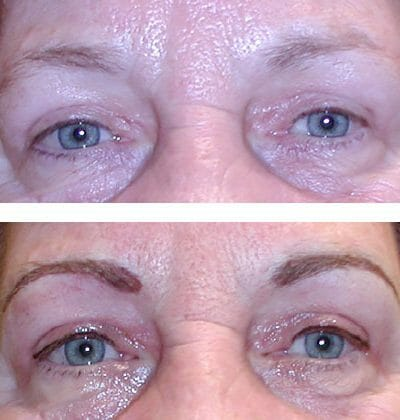 eyebrows and eyeliner with micropigmentation